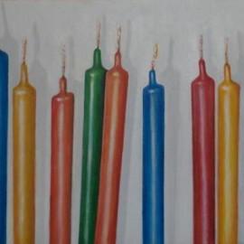 Candele che aspettano (oil on canvas 60x25 cm)