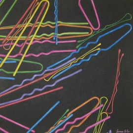 Colours Hairpins Hairgrips (Acrylic on canvas 70x70)