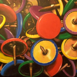 The new colours drawing pins (Oil on canvas 120x80)