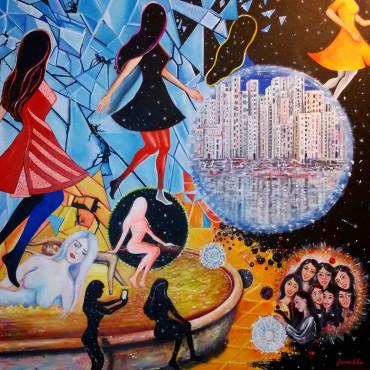 The dream never dies - acrylic on canvas 100x100